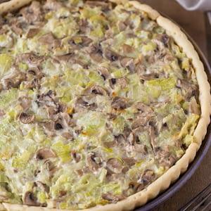 Baked leek mushroom pie.