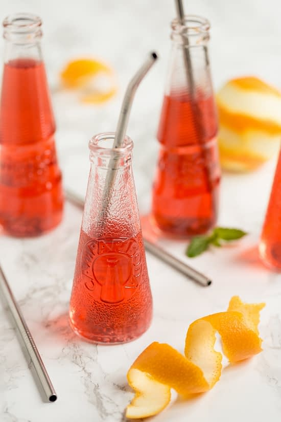 Campari soda and Aperol soda bottles.