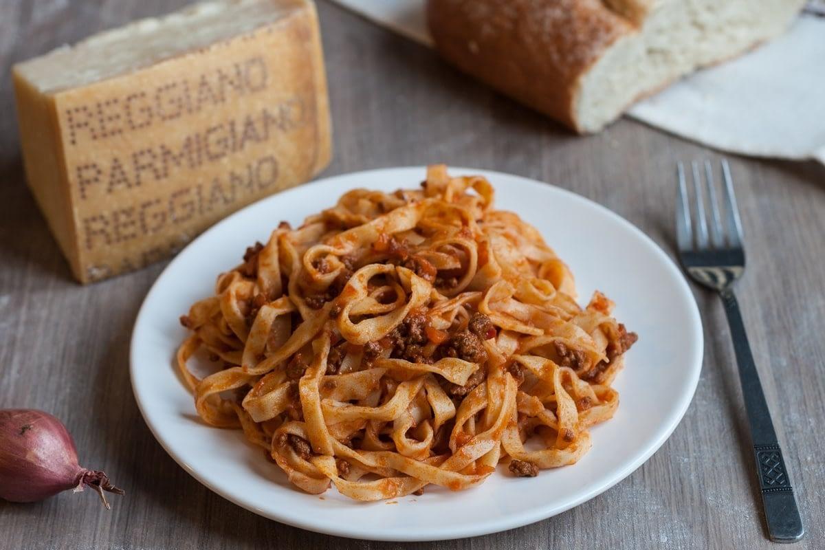fresh home made egg pasta tagliatelle