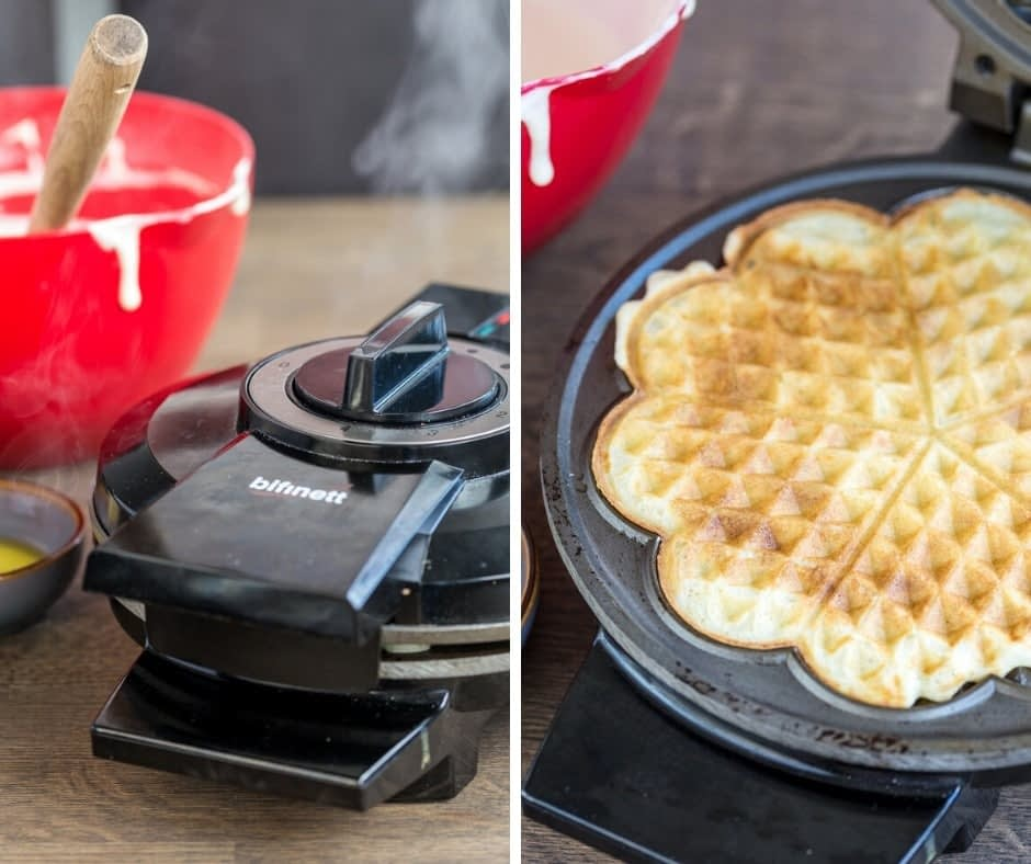 Sour cream waffles being prepared in a waffle iron: steam coming out of the appliance as the waffle cooks and the finished product.