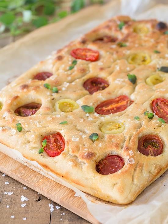 Poolish focaccia bread with cherry tomatoes.