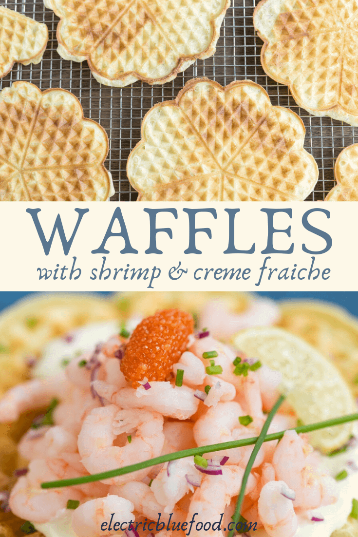 Sour cream waffles topped with shrimp and fish roe. A Norwegian recipe with a very Scandinavian topping!